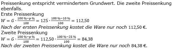 Prozentrechnung Prozentwert Lösungen zum Aufgabensatz 7 Blatt 1/2 Grundlagen Bild 1/© by www.fit-in-mathe-online.de