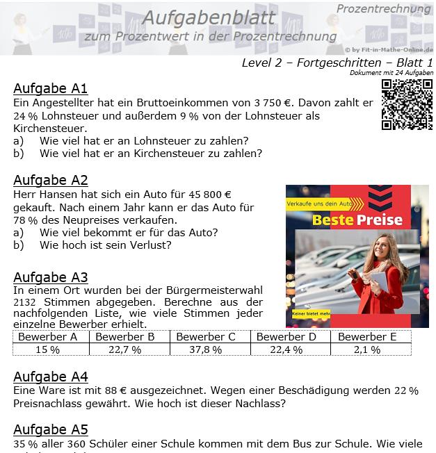 Prozentwert in der Prozentrechnung Aufgabenblatt 2/1 / © by Fit-in-Mathe-Online.de