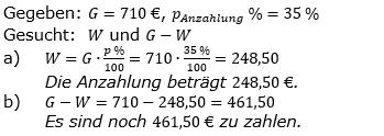 Prozentrechnung Prozentwert Lösungen zum Aufgabensatz 7 Blatt 2/1 Fortgeschritten Bild 1/© by www.fit-in-mathe-online.de