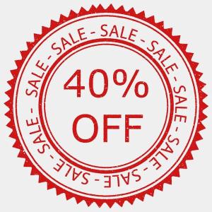 """""""Alles muss raus, 40 % Rabatt wegen Geschäftsaufgabe"""" steht groß im Schaufenster von Manuelas Modeboutique  (Grafik W0003 im WIKI Prozentwert in der Prozentrechnung) /© by www.fit-in-mathe-online.de)"""