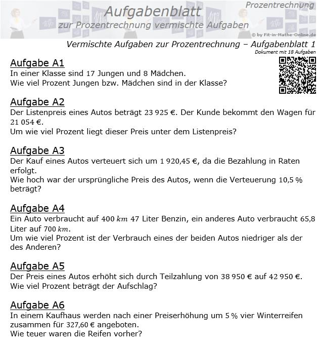 Vermischte Aufgaben der Prozentrechnung Aufgabenblatt 1 / © by Fit-in-Mathe-Online.de