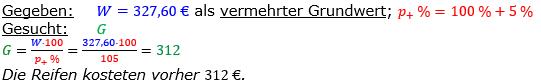 Vermischte Aufgaben der Prozentrechnung Aufgabenblatt 1 Aufgabensatz 06 Bild A1106L01 Lösung Bild 1 /© by www.fit-in-mathe-online.de