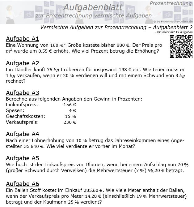 Vermischte Aufgaben der Prozentrechnung Aufgabenblatt 2 / © by Fit-in-Mathe-Online.de