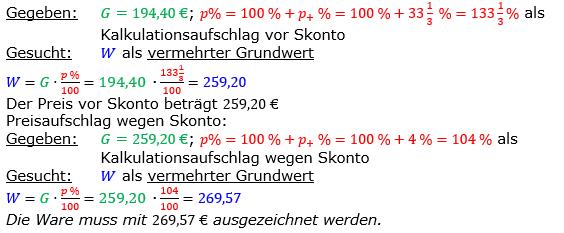 Vermischte Aufgaben der Prozentrechnung Aufgabenblatt 2 Aufgabensatz 17 Bild A1217L01 Lösung Bild 1 /© by www.fit-in-mathe-online.de