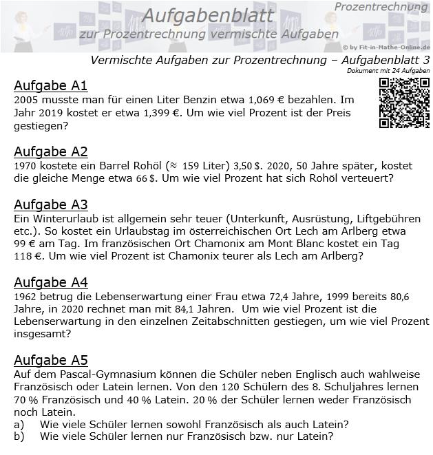 Vermischte Aufgaben der Prozentrechnung Aufgabenblatt 3 / © by Fit-in-Mathe-Online.de