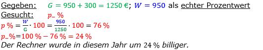 Vermischte Aufgaben der Prozentrechnung Aufgabenblatt 3 Aufgabensatz 07 Bild A1307L01 Lösung Bild 1 /© by www.fit-in-mathe-online.de