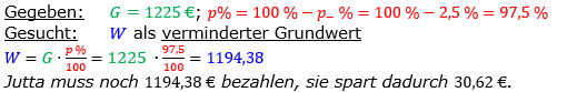 Vermischte Aufgaben der Prozentrechnung Aufgabenblatt 3 Aufgabensatz 17 Bild A1317L01 Lösung Bild 1 /© by www.fit-in-mathe-online.de