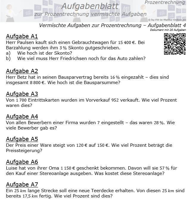 Vermischte Aufgaben der Prozentrechnung Aufgabenblatt 4 / © by Fit-in-Mathe-Online.de
