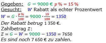 Vermischte Aufgaben der Prozentrechnung Aufgabenblatt 4 Aufgabensatz 11 Bild A1411L01 Lösung Bild 1 /© by www.fit-in-mathe-online.de