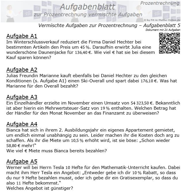 Vermischte Aufgaben der Prozentrechnung Aufgabenblatt 5 / © by Fit-in-Mathe-Online.de