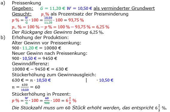Vermischte Aufgaben der Prozentrechnung Aufgabenblatt 5 Aufgabensatz 17 Bild A1517L01 Lösung Bild 1 /© by www.fit-in-mathe-online.de
