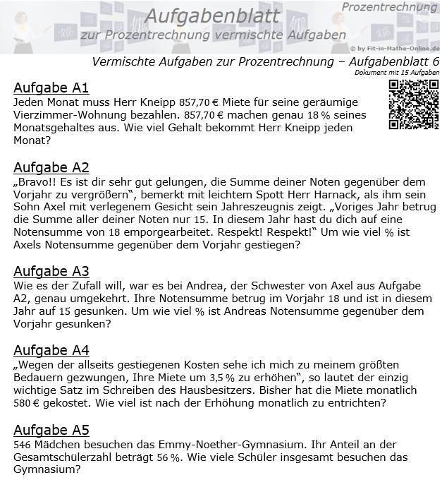 Vermischte Aufgaben der Prozentrechnung Aufgabenblatt 6 / © by Fit-in-Mathe-Online.de