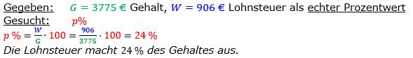 Vermischte Aufgaben der Prozentrechnung Aufgabenblatt 6 Aufgabensatz 06 Bild A1606L01 Lösung Bild 1 /© by www.fit-in-mathe-online.de