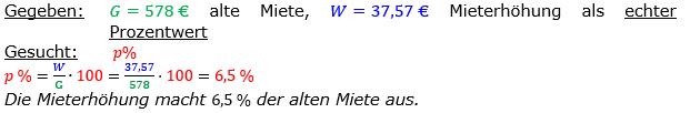 Vermischte Aufgaben der Prozentrechnung Aufgabenblatt 6 Aufgabensatz 10 Bild A1610L01 Lösung Bild 1 /© by www.fit-in-mathe-online.de