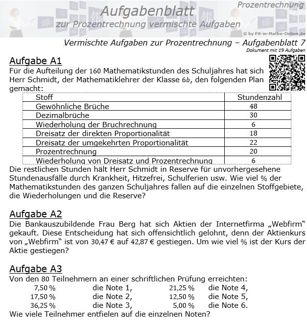 Vermischte Aufgaben der Prozentrechnung Aufgabenblatt 7 / © by Fit-in-Mathe-Online.de