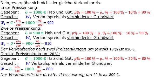 Vermischte Aufgaben der Prozentrechnung Aufgabenblatt 7 Aufgabensatz 10 Bild A1710L01 Lösung Bild 1 /© by www.fit-in-mathe-online.de