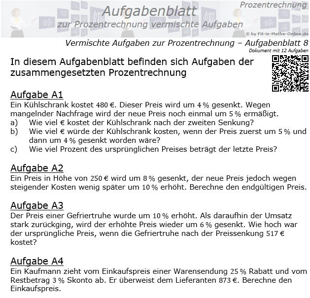 Zusammengesetzte Aufgaben der Prozentrechnung Aufgabenblatt 8 / © by Fit-in-Mathe-Online.de