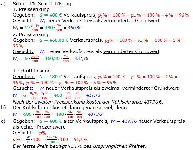 Vermischte Aufgaben der Prozentrechnung Aufgabenblatt 8 Aufgabensatz 01 Bild A1801L01 Lösung Bild 1 /© by www.fit-in-mathe-online.de