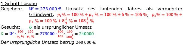 Vermischte Aufgaben der Prozentrechnung Aufgabenblatt 8 Aufgabensatz 05 Bild A1805L01 Lösung Bild 1 /© by www.fit-in-mathe-online.de