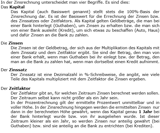 Einleitungstext 01 in den Berechnungs-WIKIs zu Kapital, Zinssatz und Zeitfaktor der Zinsrechnung. (Grafik WALL001 /© by www.fit-in-mathe-online.de)