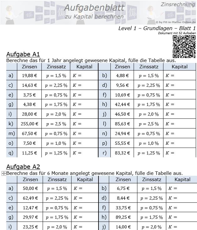 Kapital berechnen in der Zinsrechnung Aufgabenblatt 1/1 / © by Fit-in-Mathe-Online.de