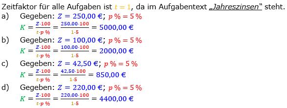 Zinsrechnung Kapital berechnen Lösungen zum Aufgabensatz 03 Blatt 1/1 Grundlagen Bild A1103L01/© by www.fit-in-mathe-online.de