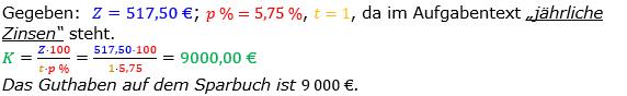 Zinsrechnung Kapital berechnen Lösungen zum Aufgabensatz 07 Blatt 1/1 Grundlagen Bild A1107L01/© by www.fit-in-mathe-online.de