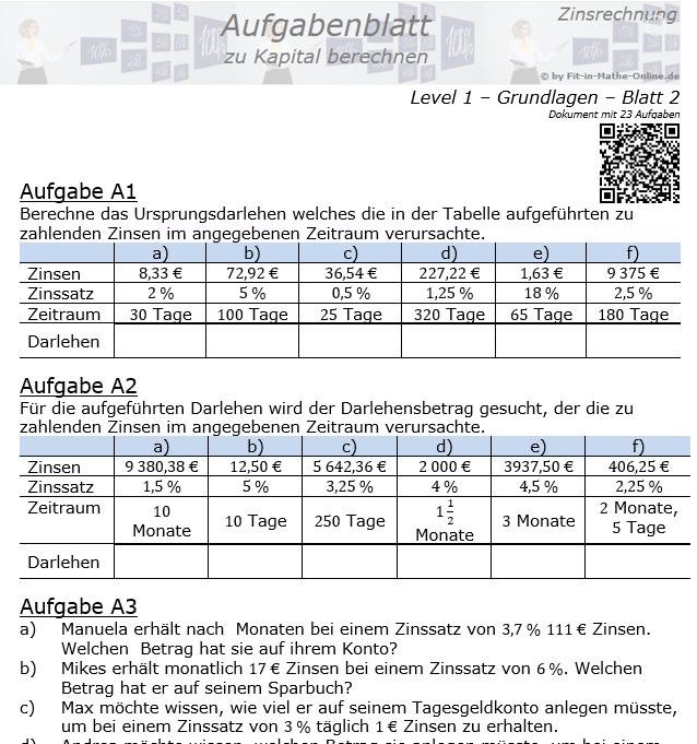 Kapital berechnen in der Zinsrechnung Aufgabenblatt 1/2 / © by Fit-in-Mathe-Online.de