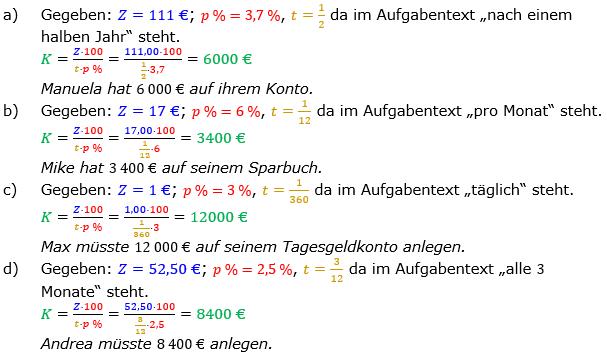 Zinsrechnung Kapital berechnen Lösungen zum Aufgabensatz 03 Blatt 1/2 Grundlagen Bild A1203L01/© by www.fit-in-mathe-online.de