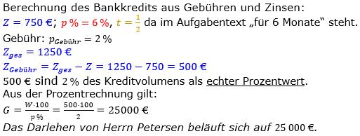 Zinsrechnung Kapital berechnen Lösungen zum Aufgabensatz 05 Blatt 1/2 Grundlagen Bild A1205L01/© by www.fit-in-mathe-online.de