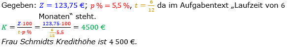 Zinsrechnung Kapital berechnen Lösungen zum Aufgabensatz 07 Blatt 1/2 Grundlagen Bild A1207L01/© by www.fit-in-mathe-online.de