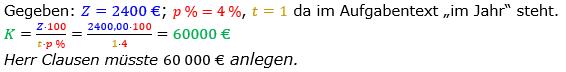 Zinsrechnung Kapital berechnen Lösungen zum Aufgabensatz 10 Blatt 1/2 Grundlagen Bild A1210L01/© by www.fit-in-mathe-online.de