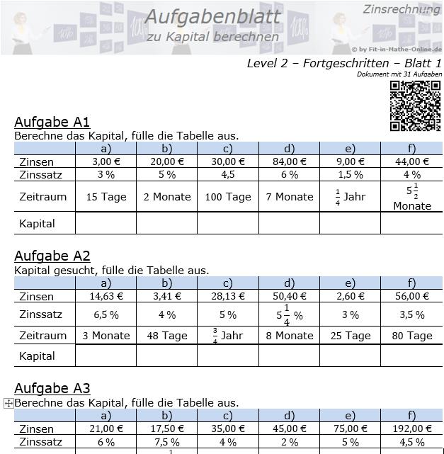 Kapital berechnen in der Zinsrechnung Aufgabenblatt 2/1 / © by Fit-in-Mathe-Online.de