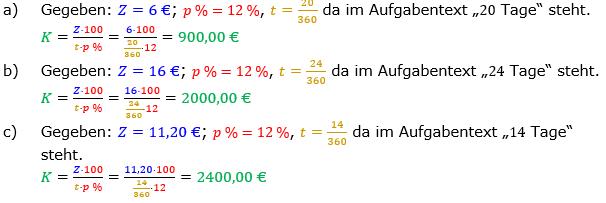 Zinsrechnung Kapital berechnen Lösungen zum Aufgabensatz 05 Blatt 2/1 Fortgeschritten Bild A2105L01/© by www.fit-in-mathe-online.de