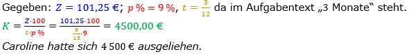 Zinsrechnung Kapital berechnen Lösungen zum Aufgabensatz 08 Blatt 2/1 Fortgeschritten Bild A2108L01/© by www.fit-in-mathe-online.de