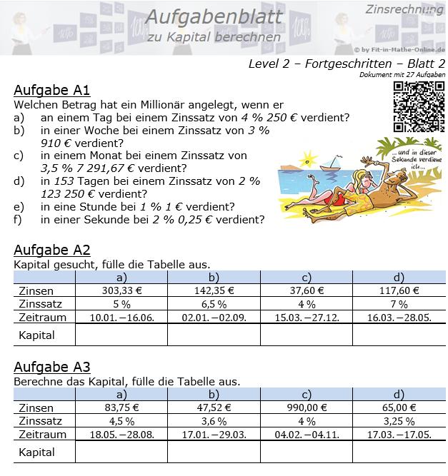Kapital berechnen in der Zinsrechnung Aufgabenblatt 2/2 / © by Fit-in-Mathe-Online.de