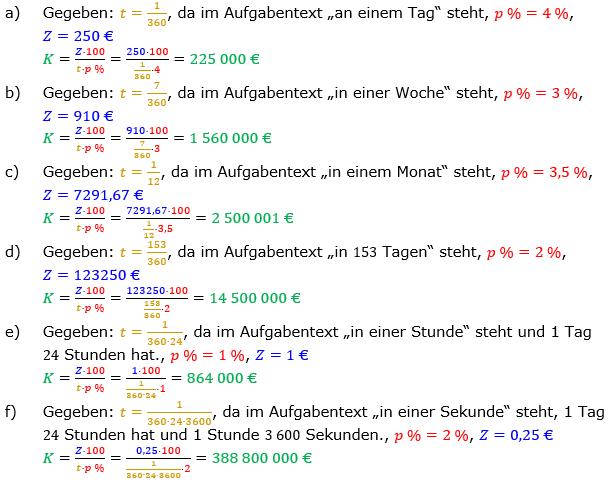 Zinsrechnung Kapital berechnen Lösungen zum Aufgabensatz 01 Blatt 2/2 Fortgeschritten Bild A2201L01/© by www.fit-in-mathe-online.de