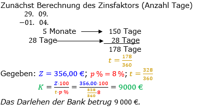 Zinsrechnung Kapital berechnen Lösungen zum Aufgabensatz 05 Blatt 2/2 Fortgeschritten Bild A2205L01/© by www.fit-in-mathe-online.de