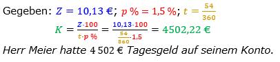 Zinsrechnung Kapital berechnen Lösungen zum Aufgabensatz 06 Blatt 2/2 Fortgeschritten Bild A2206L01/© by www.fit-in-mathe-online.de