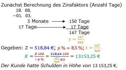 Zinsrechnung Kapital berechnen Lösungen zum Aufgabensatz 10 Blatt 2/2 Fortgeschritten Bild A2210L01/© by www.fit-in-mathe-online.de