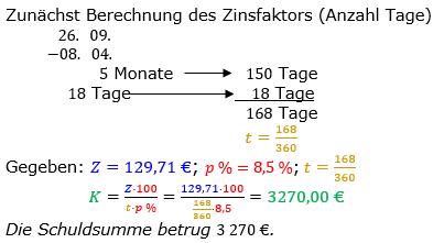 Zinsrechnung Kapital berechnen Lösungen zum Aufgabensatz 11 Blatt 2/2 Fortgeschritten Bild A2211L01/© by www.fit-in-mathe-online.de