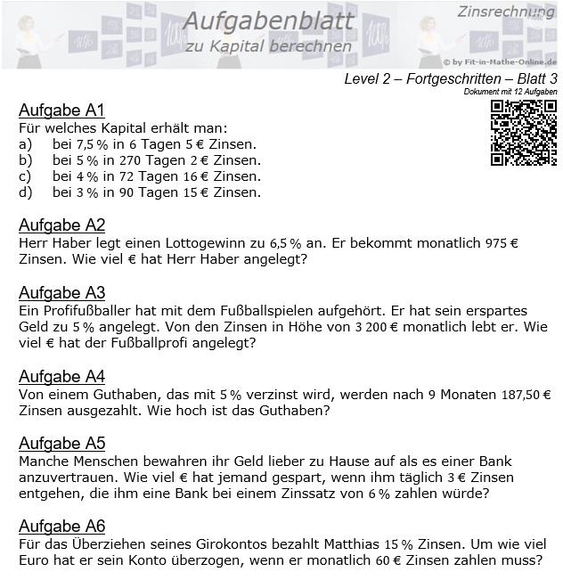 Kapital berechnen in der Zinsrechnung Aufgabenblatt 2/3 / © by Fit-in-Mathe-Online.de
