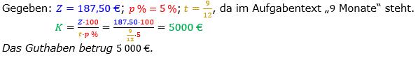 Zinsrechnung Kapital berechnen Lösungen zum Aufgabensatz 04 Blatt 2/3 Fortgeschritten Bild A2304L01/© by www.fit-in-mathe-online.de