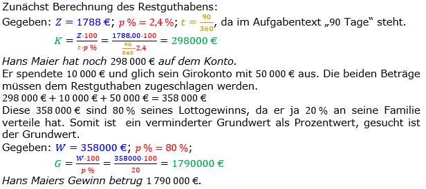 Zinsrechnung Kapital berechnen Lösungen zum Aufgabensatz 07 Blatt 2/3 Fortgeschritten Bild A2307L01/© by www.fit-in-mathe-online.de