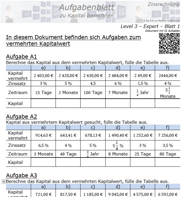 Kapital berechnen in der Zinsrechnung Aufgabenblatt 3/1 / © by Fit-in-Mathe-Online.de