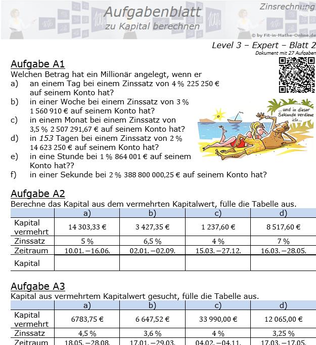 Kapital berechnen in der Zinsrechnung Aufgabenblatt 3/2 / © by Fit-in-Mathe-Online.de