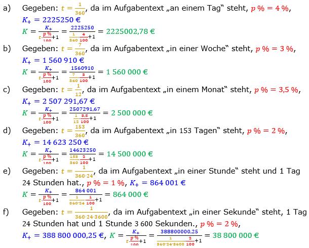Zinsrechnung Kapital berechnen Lösungen zum Aufgabensatz 01 Blatt 3/2 Expert Bild A3201L01/© by www.fit-in-mathe-online.de