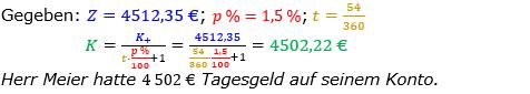 Zinsrechnung Kapital berechnen Lösungen zum Aufgabensatz 06 Blatt 3/2 Expert Bild A3206L01/© by www.fit-in-mathe-online.de