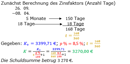Zinsrechnung Kapital berechnen Lösungen zum Aufgabensatz 11 Blatt 3/2 Expert Bild A3211L01/© by www.fit-in-mathe-online.de