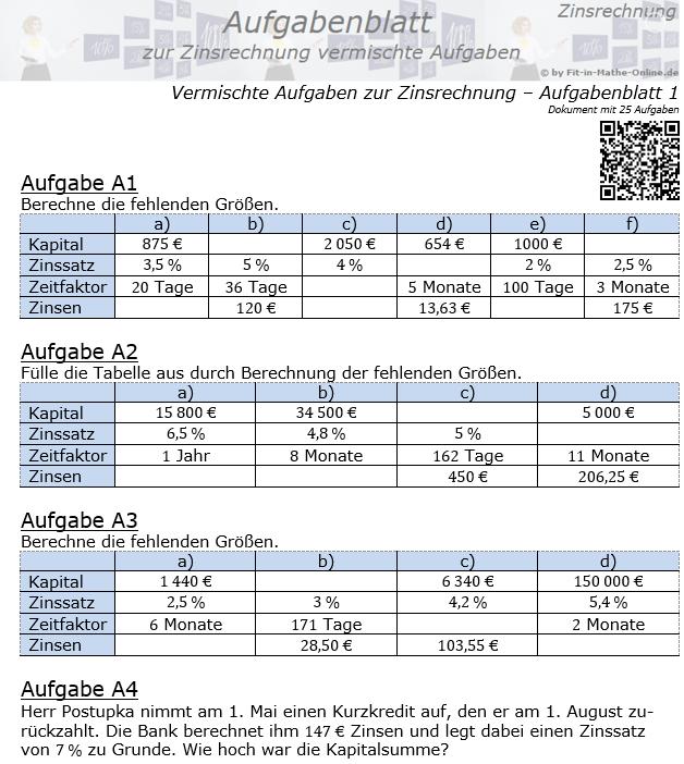 Vermischte Aufgaben der Zinsrechnung Aufgabenblatt 1 / © by Fit-in-Mathe-Online.de